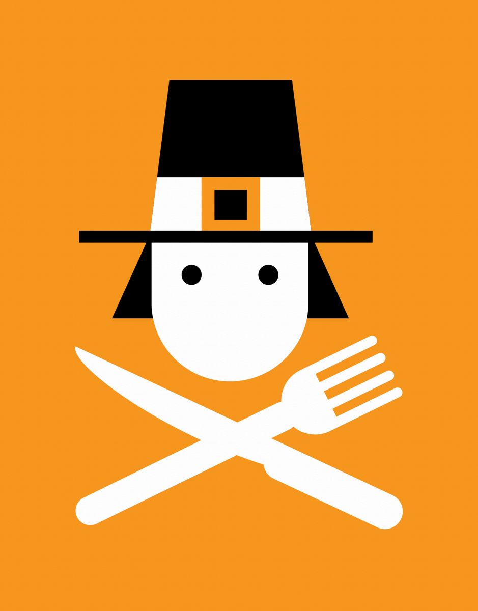 Hungry Pilgrim Thanksgiving Card