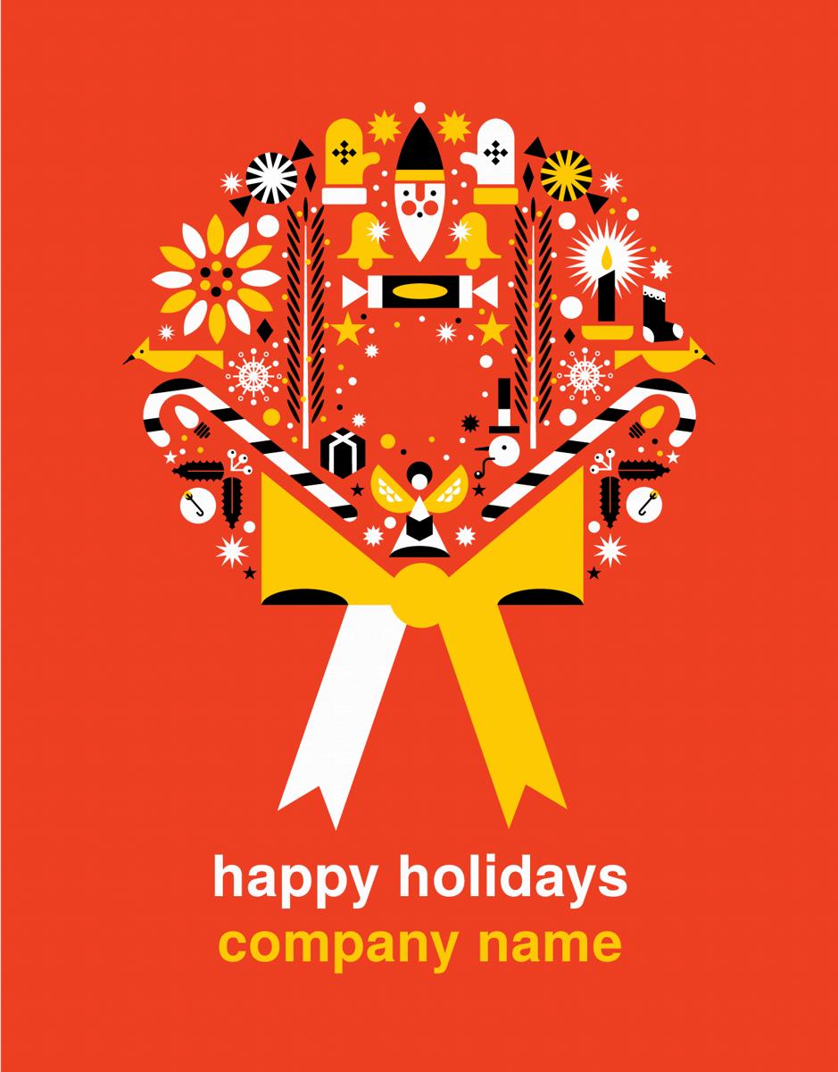 Custom Wreath Holiday Card