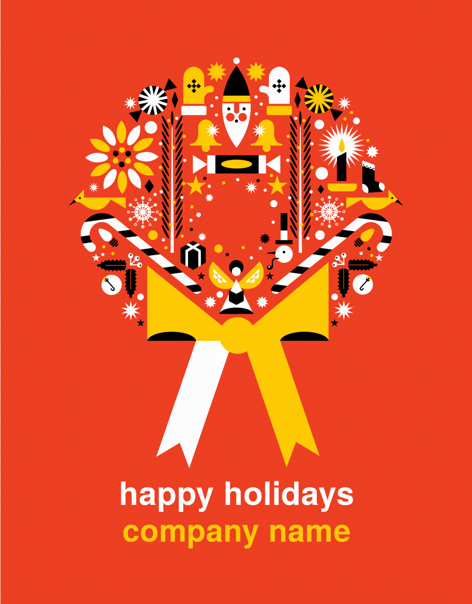Custom Wreath Holiday Card
