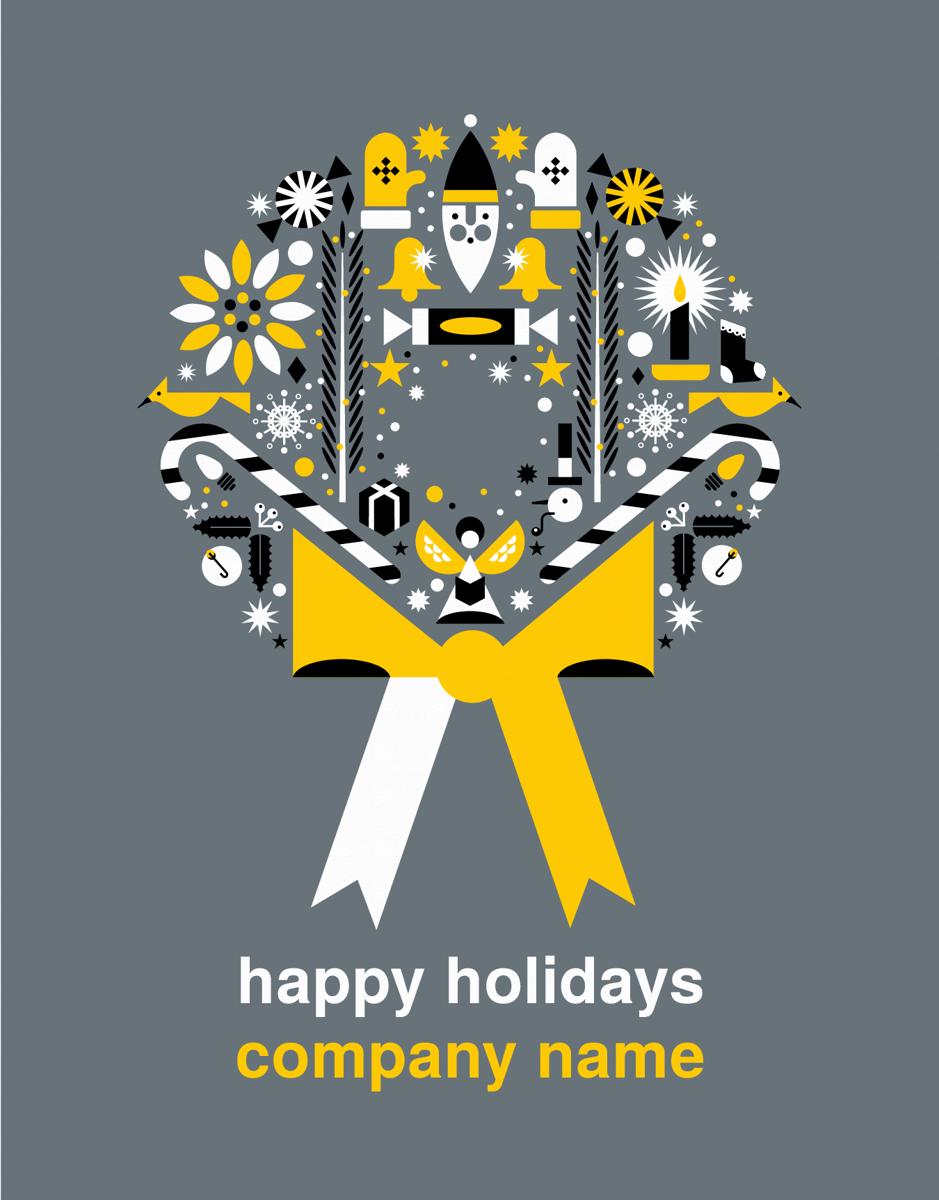 Custom Graphic Wreath Holiday Card