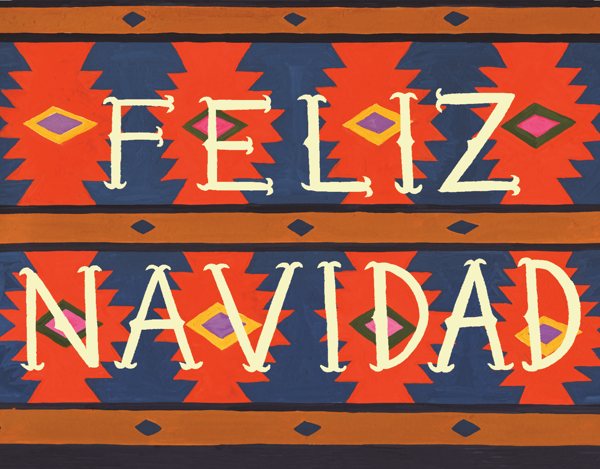 blue and red feliz Navidad Card