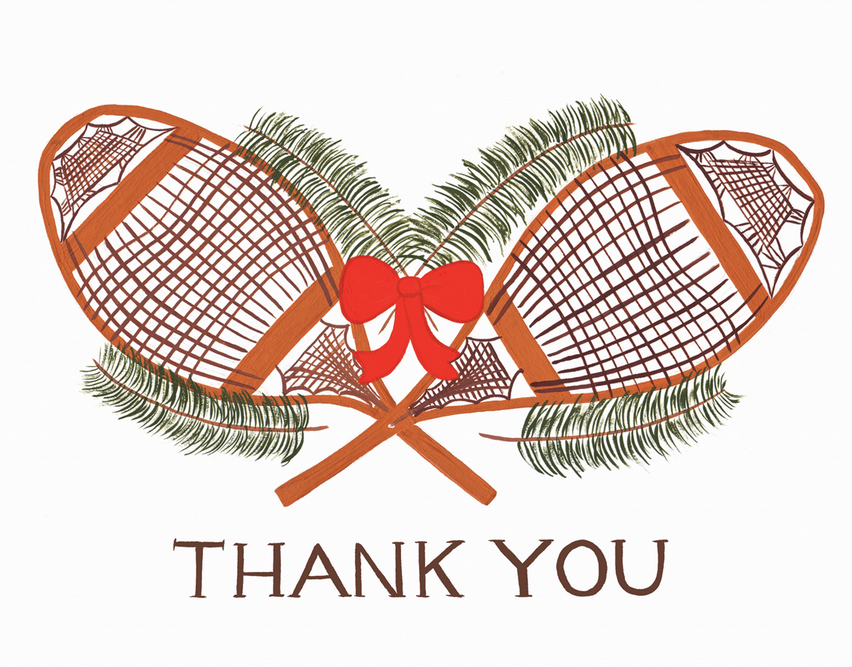 Snow Shoe Thank You Card