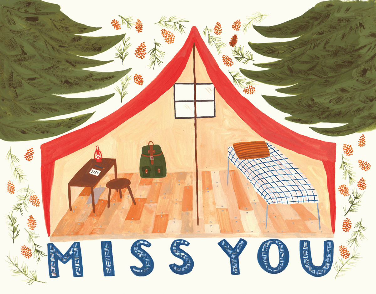 Painted Tent Miss You Card