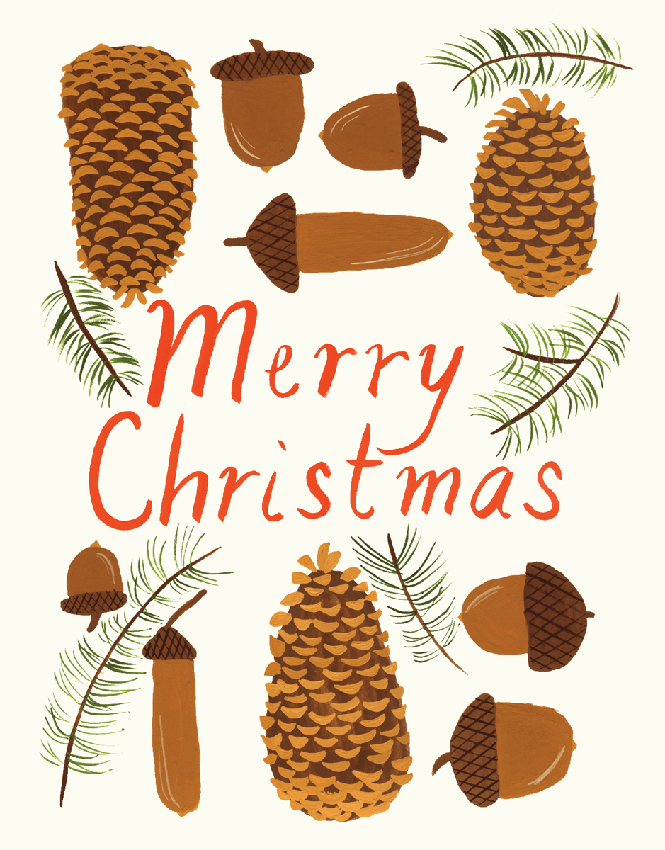 Acorns and Pinecones Christmas Card