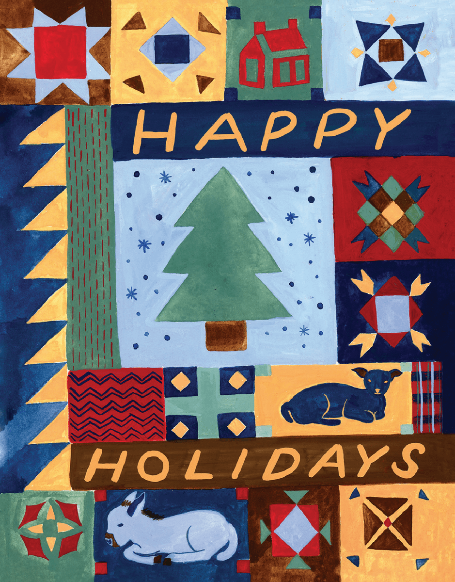 vintage quilt happy holidays greeting card