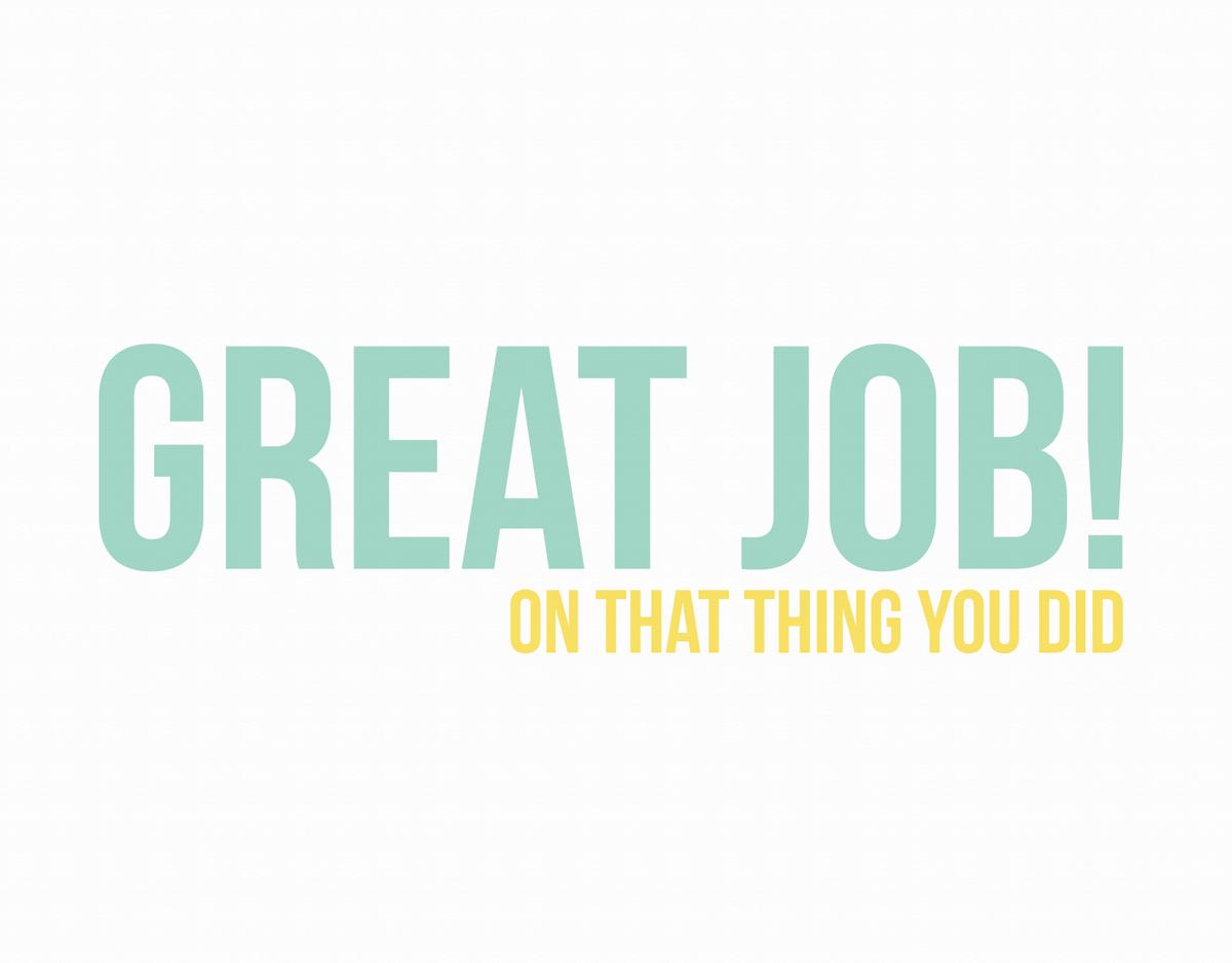 Funny Green Great Job Card