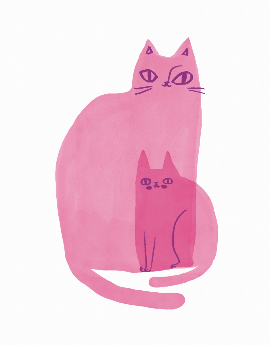 Cat Family Pink