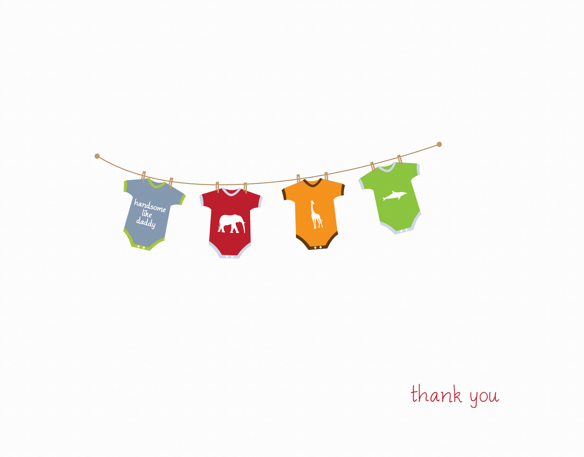 Hanging  Clothes Thank You Card