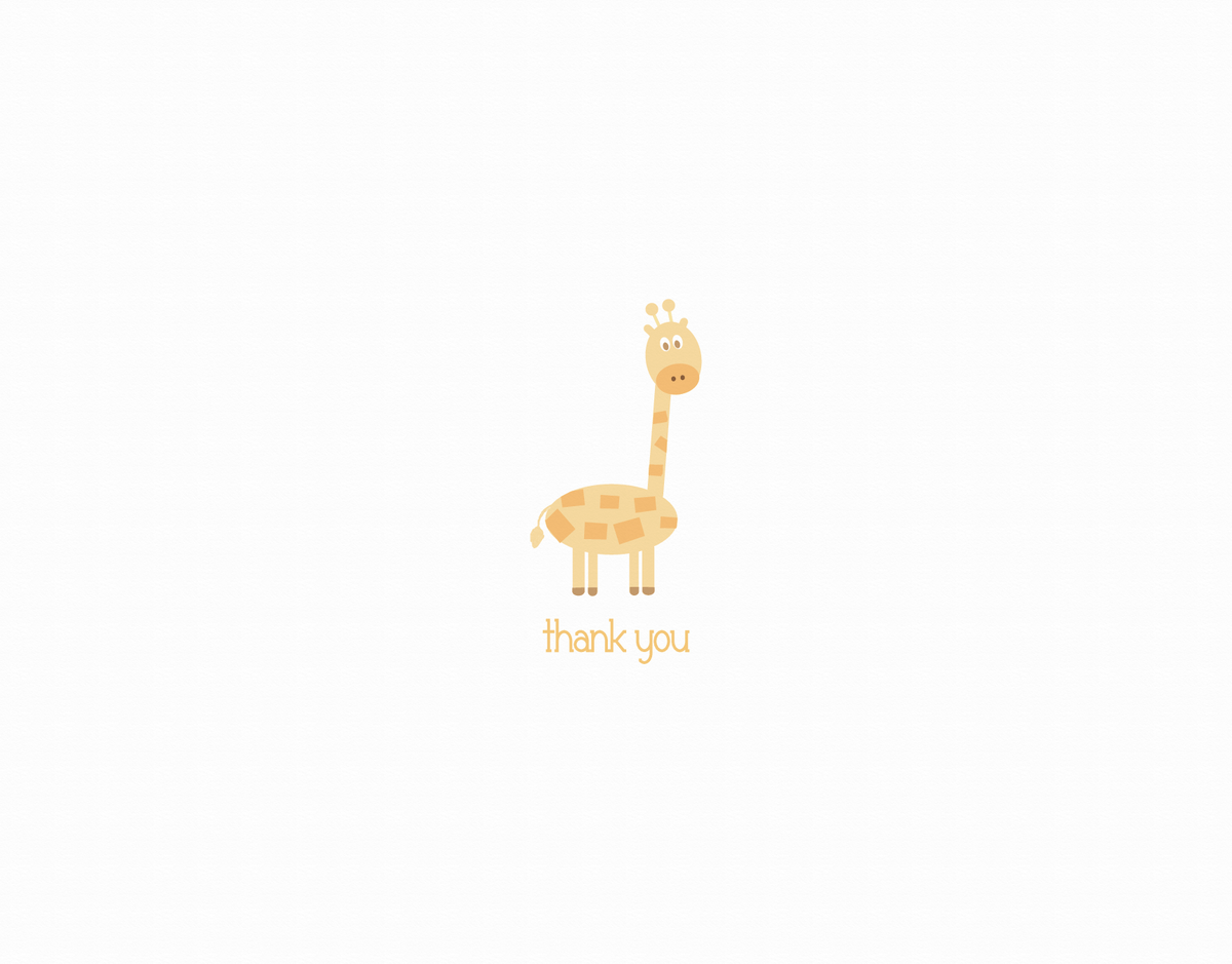 Giraffe Baby Thank You Card