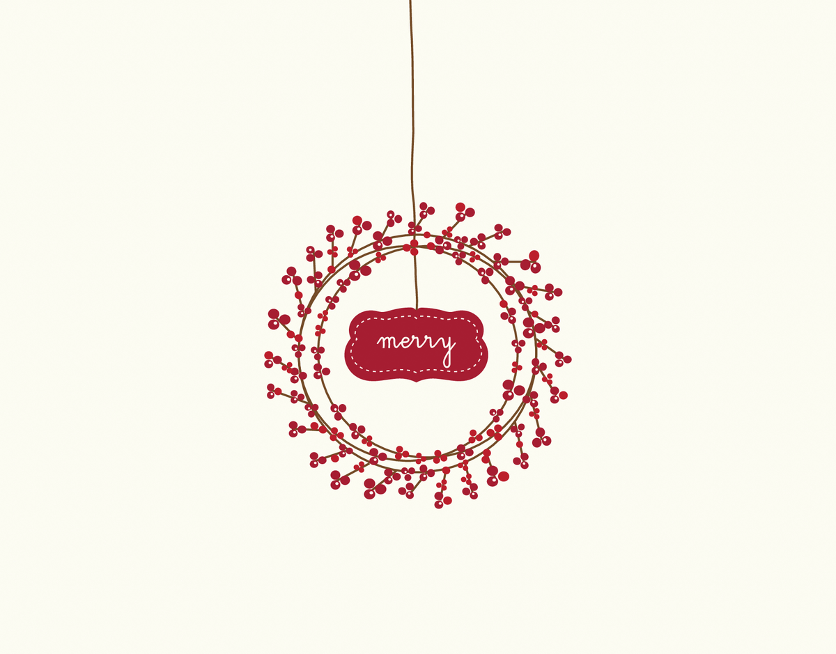 Berry Holiday Wreath Greeting Card