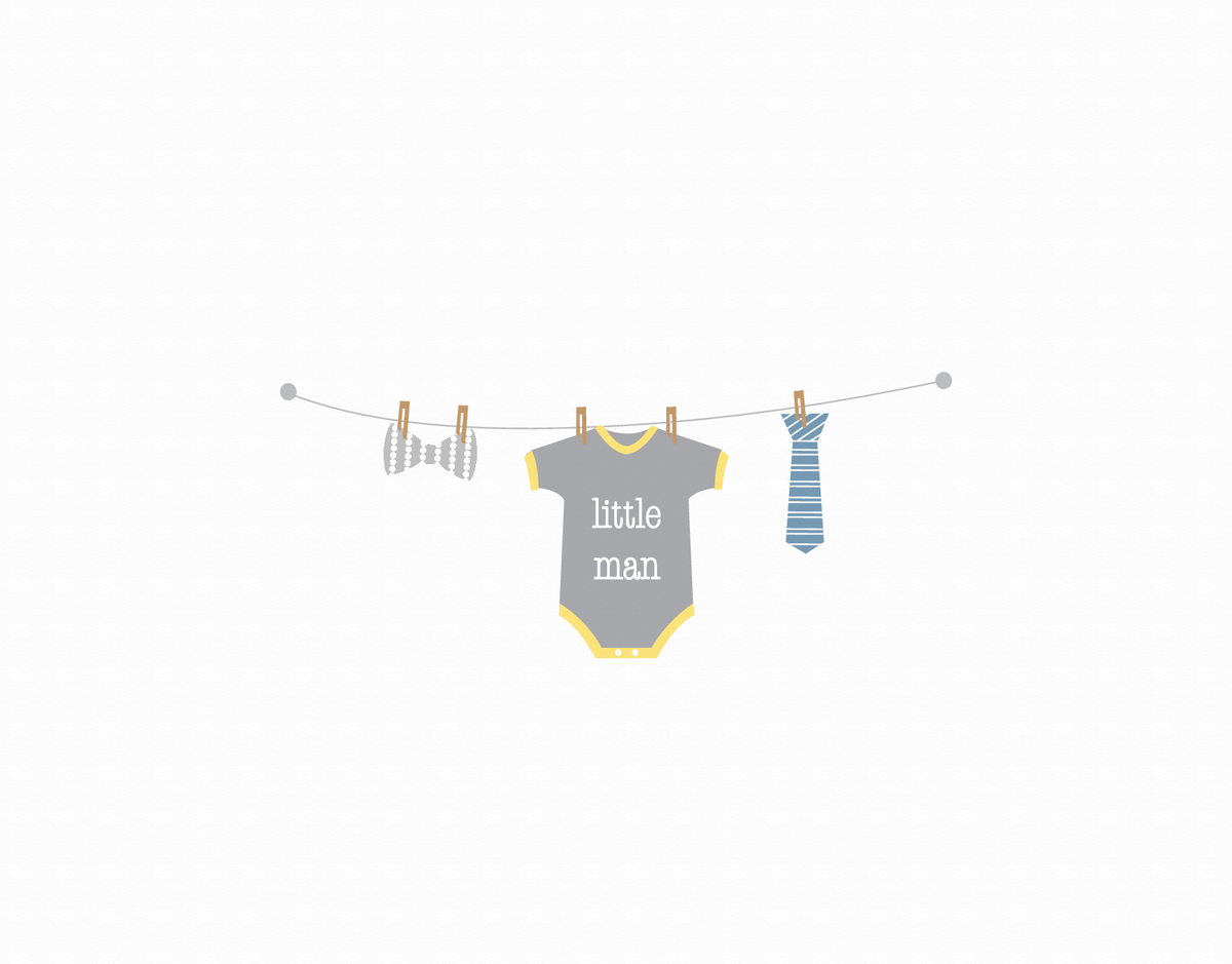 Little Man Clothesline Greeting Card