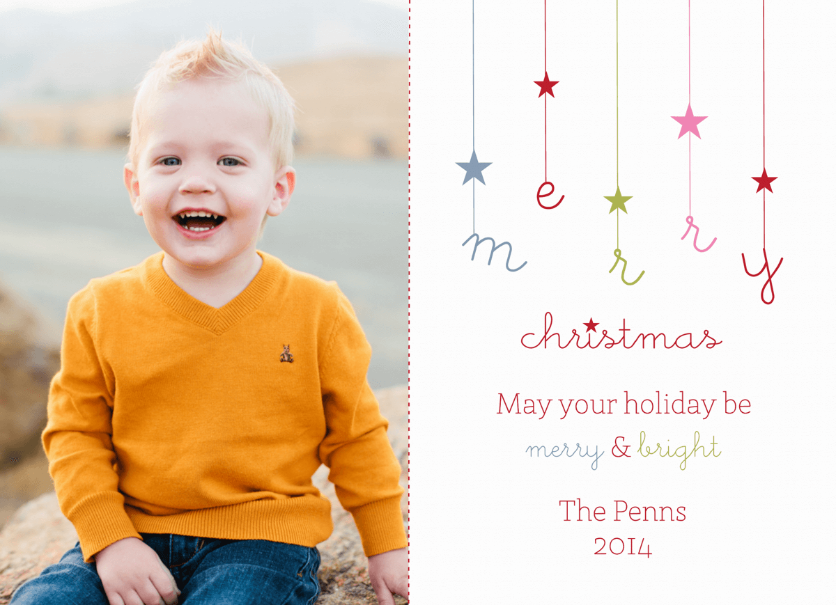 Dangling Stars Custom Christmas Card
