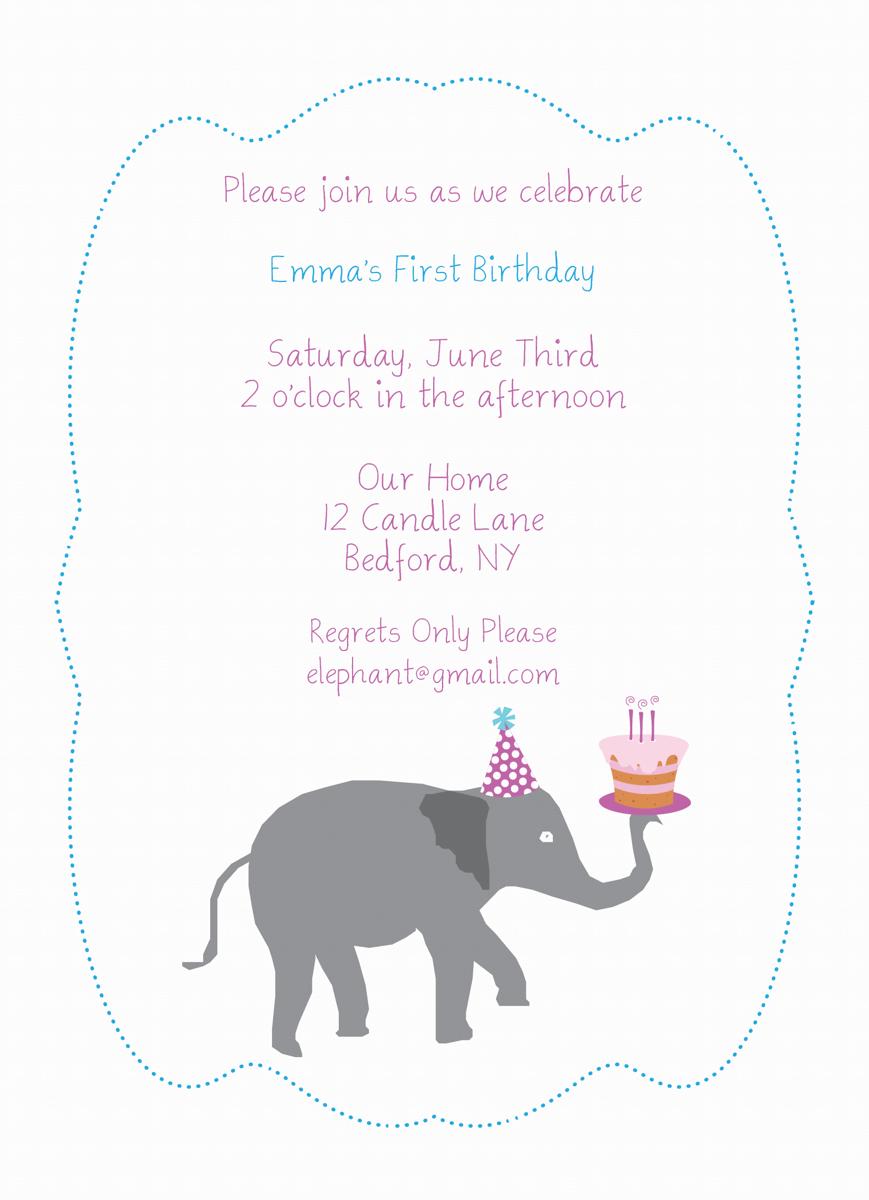 Elephant Cake Birthday Invitation