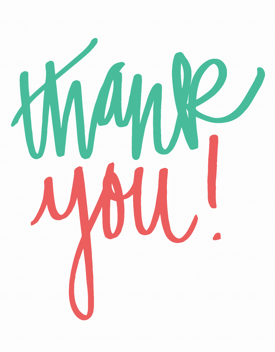 Simple Colorful Script Thank You Card