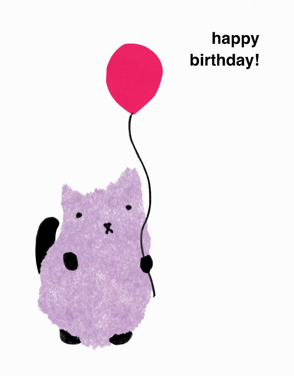 Purple Kitten Birthday Card