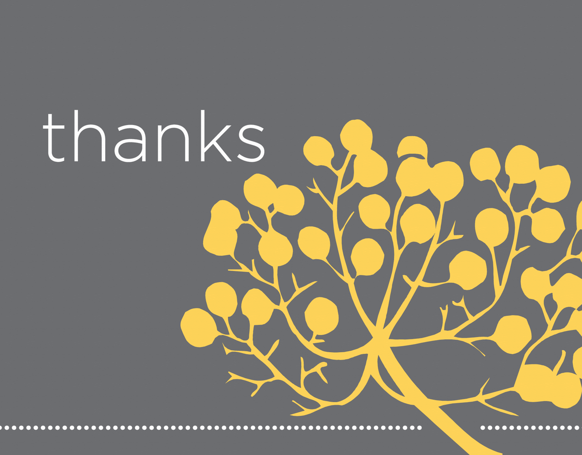 Yellow Branch Thank You Card