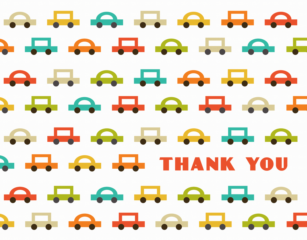 Colorful Car Patterned Thanks greeting