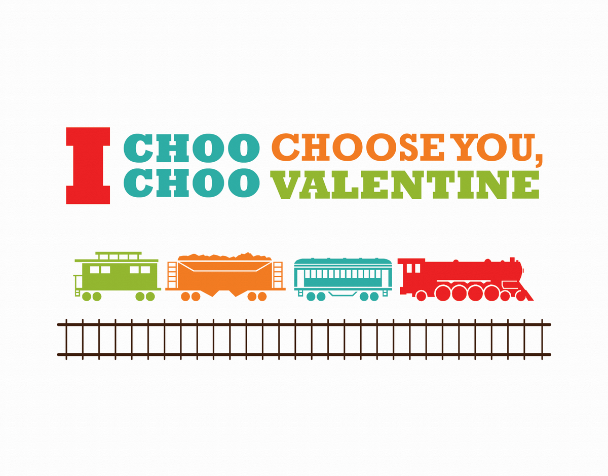 Punny train Valentine Card