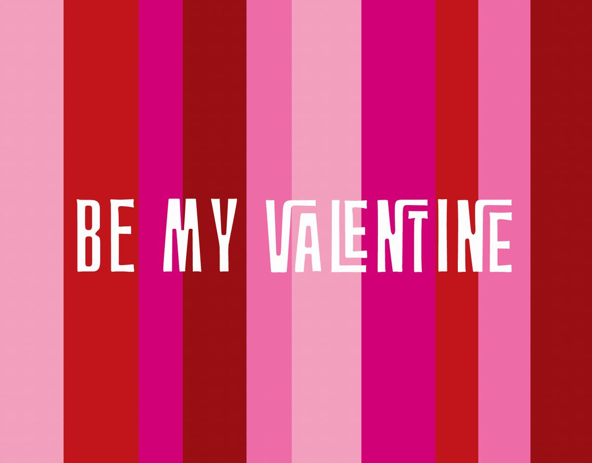 Retro Pink Stripes Valentine's Card