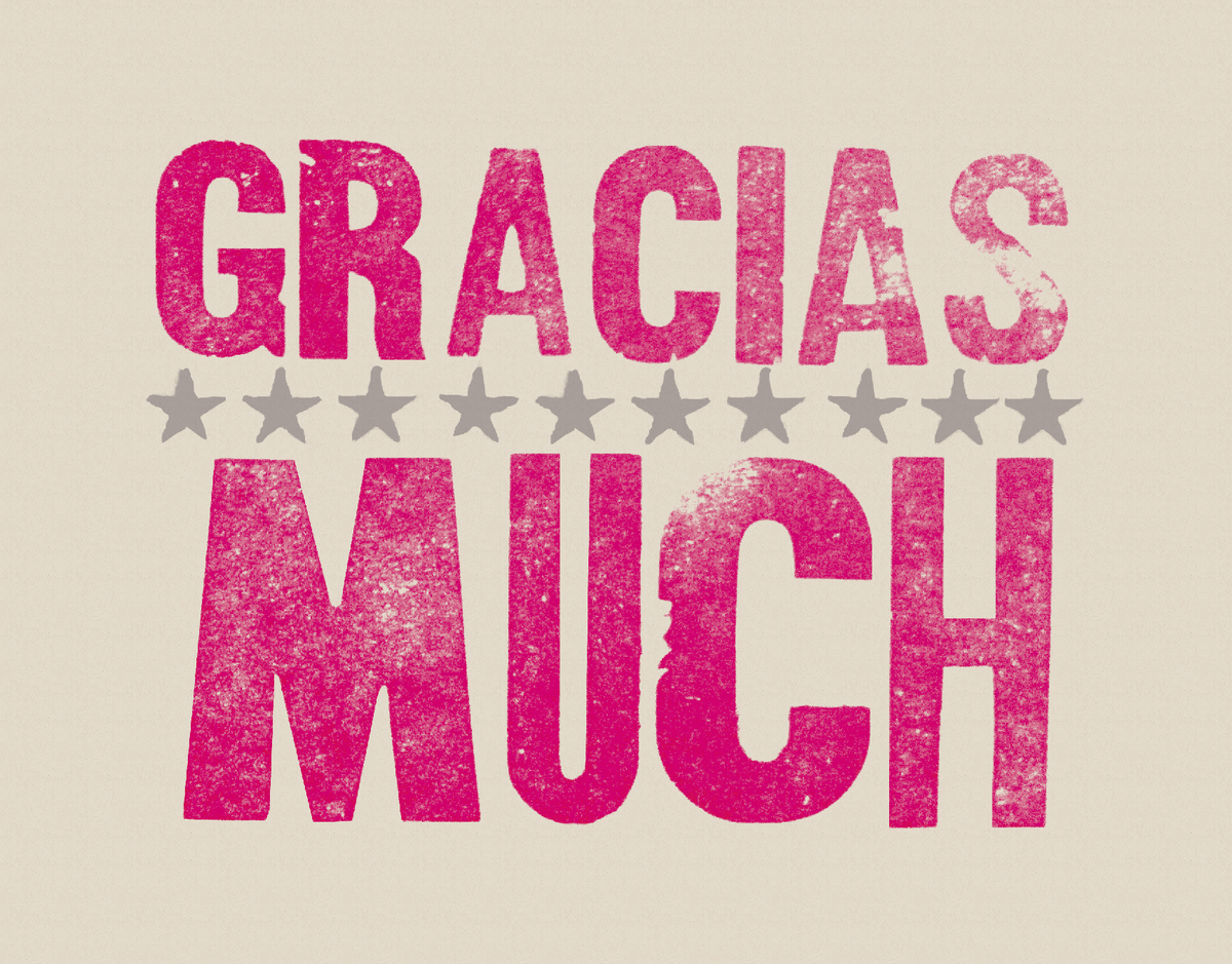 Starry Gracias Stamped Thank You Card