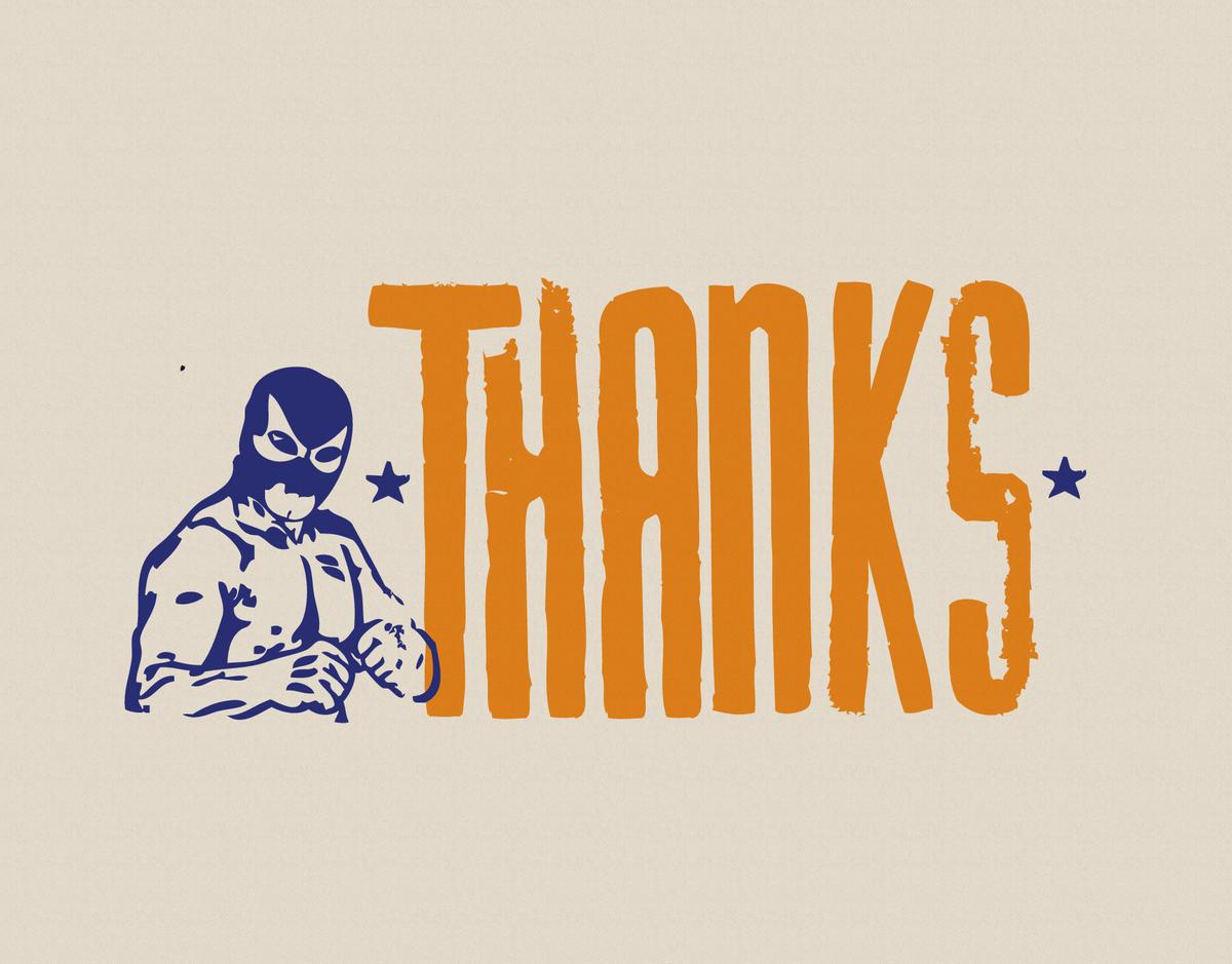 Orange Luchador Thank You Card
