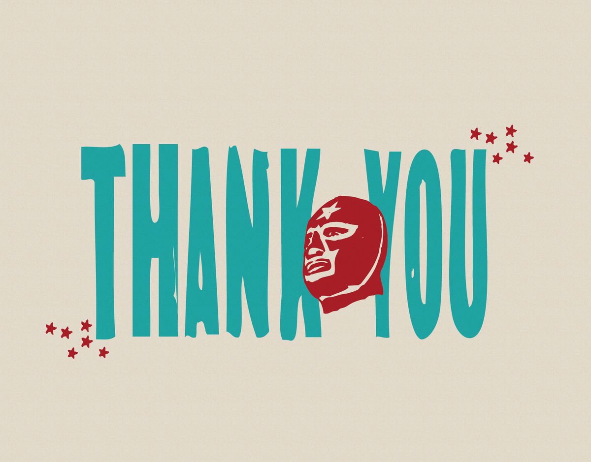 Luchador Thank You Card