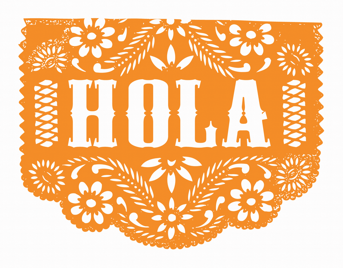 Orange Hola Patterned Card