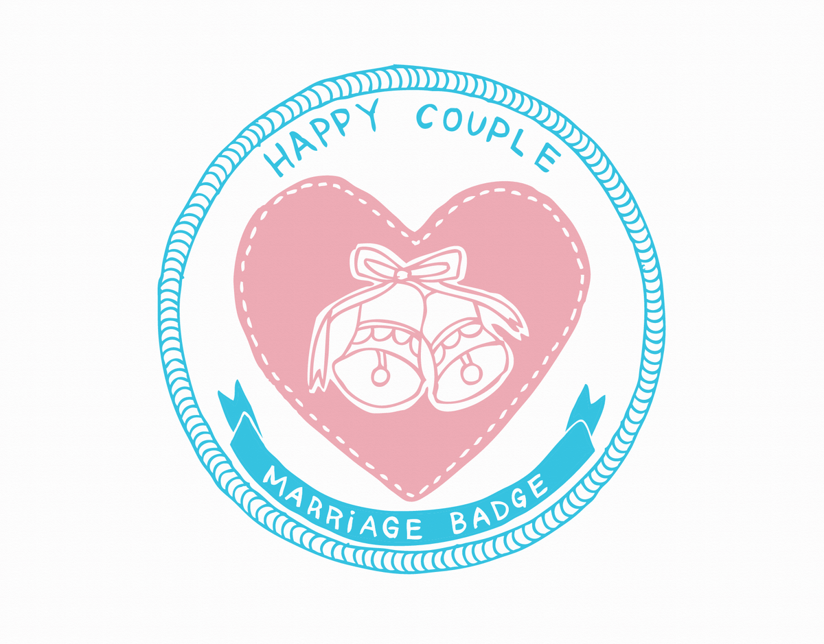 Happy Couple Marriage Badge