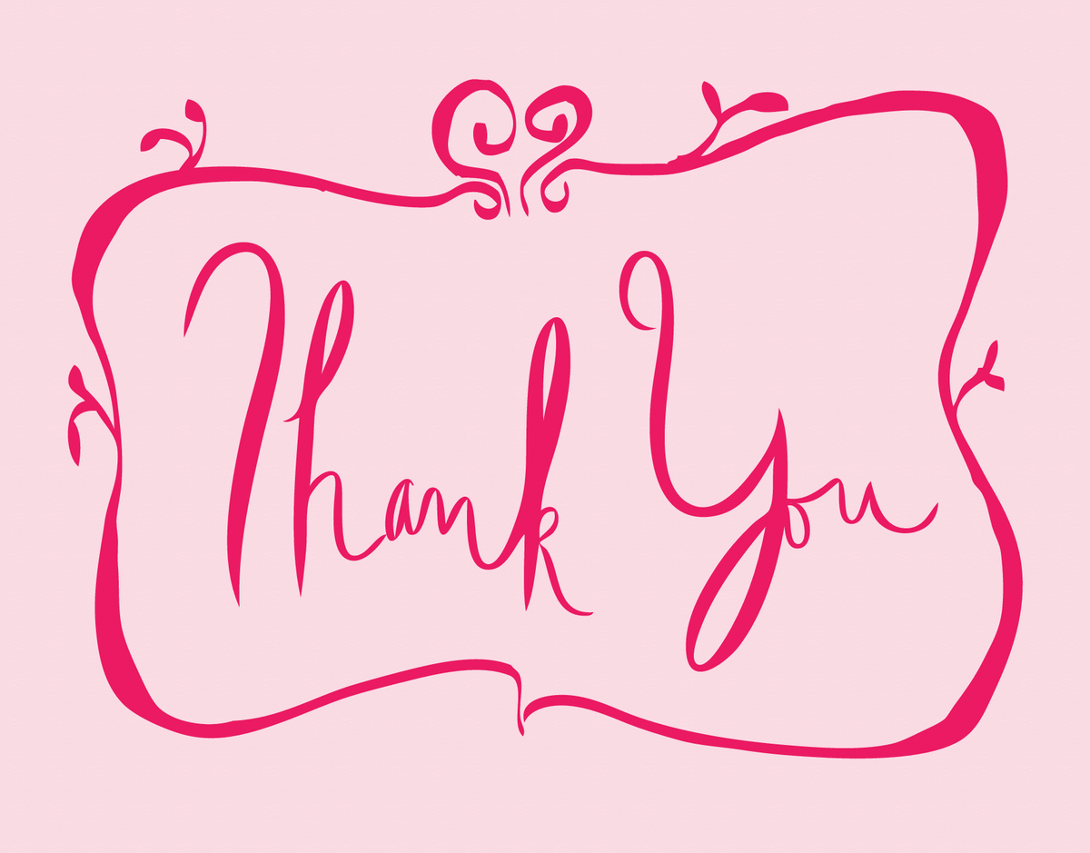 Girly Pink Bordered Thank You Card