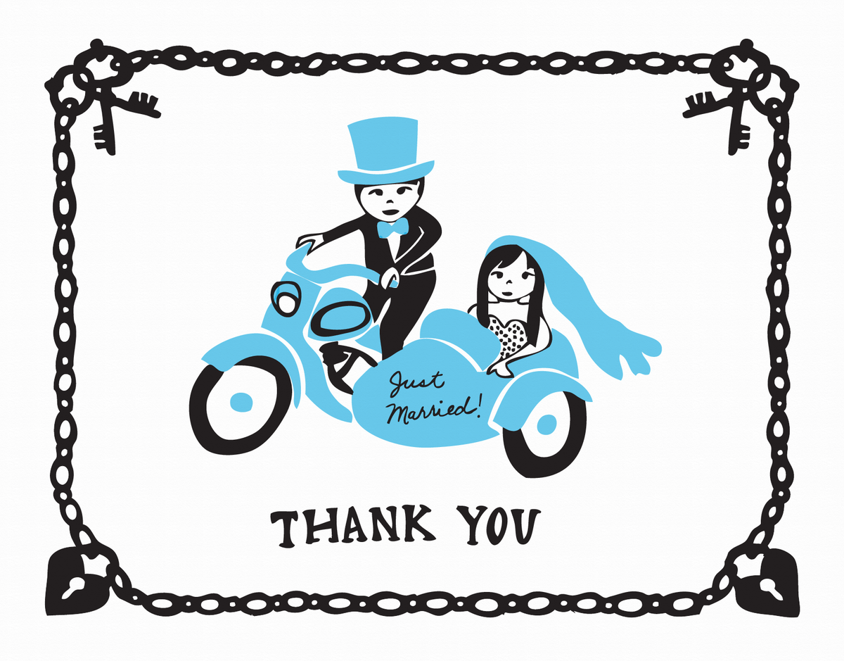 Newlyweds Motorcycle Thank You Card
