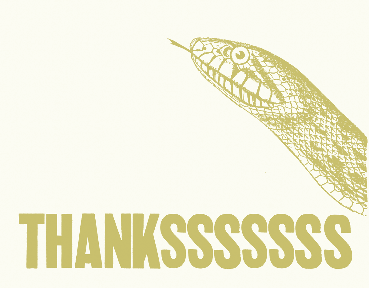 Snake Hiss Thank You Card