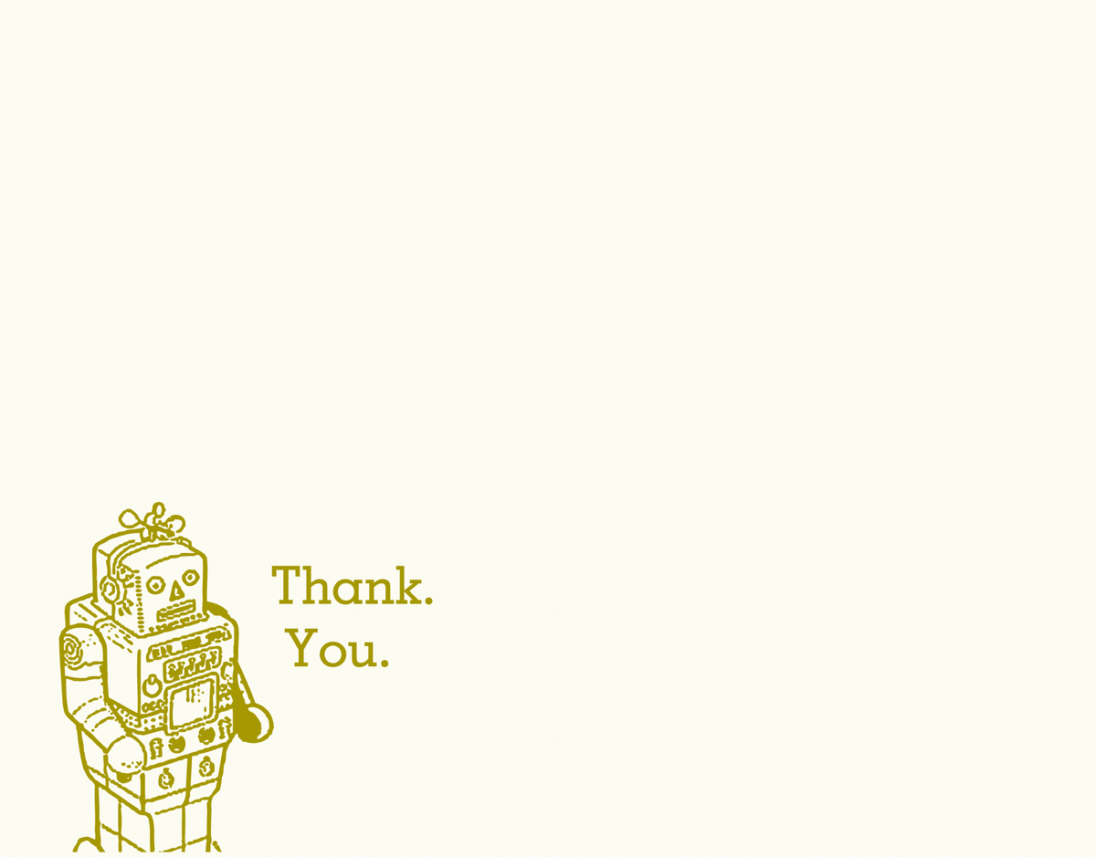 Robot Thank You Card