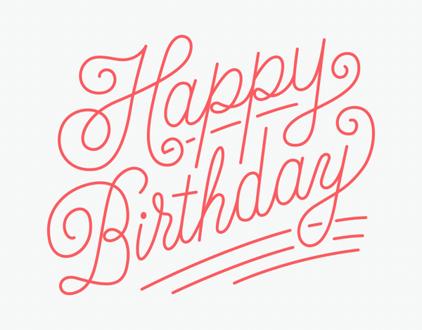 Red Script Birthday