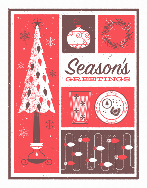 red season's greetings greeting card