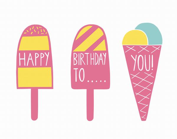 Whimsical Ice Cream Birthday Card