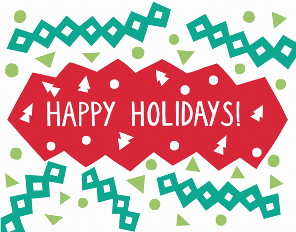 Colorful Happy Holidays Card