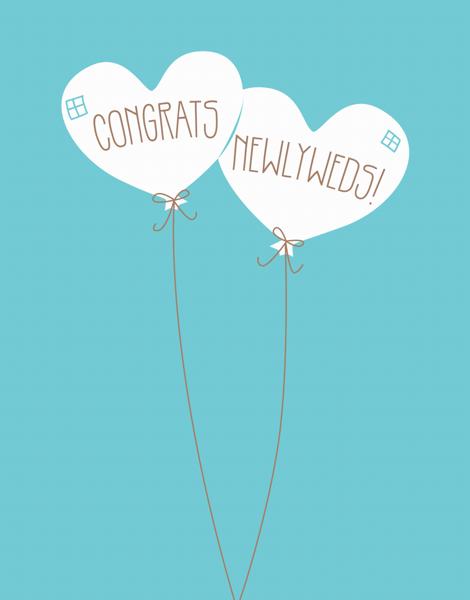 Balloon Hearts Newlywed Congrats Card