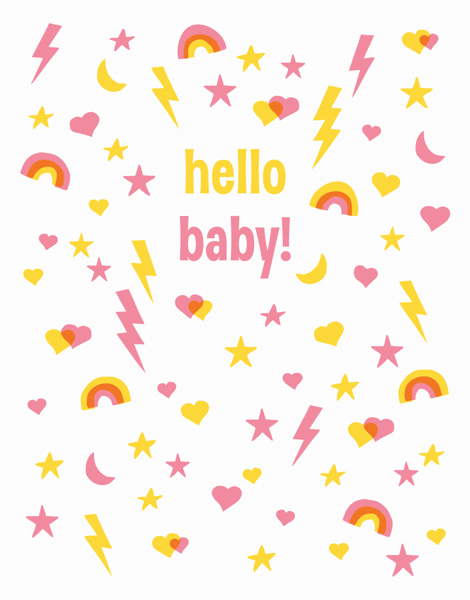 Rainbows and Stars Welcome Pink Baby Card