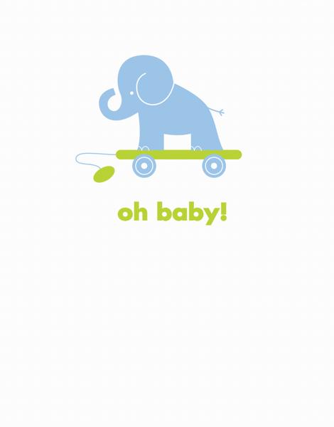 Baby Elephant Baby Card