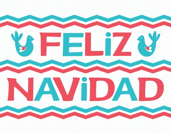 Festive Chevron Feliz Navidad Card