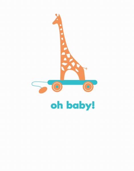 Baby Giraffe Welcome Baby Card