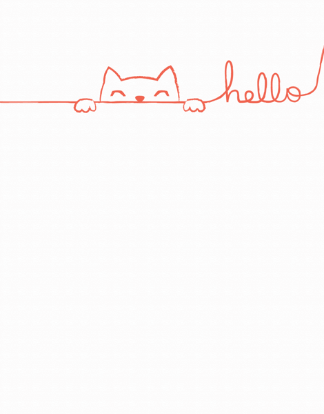 Doodle Cat Hello Card