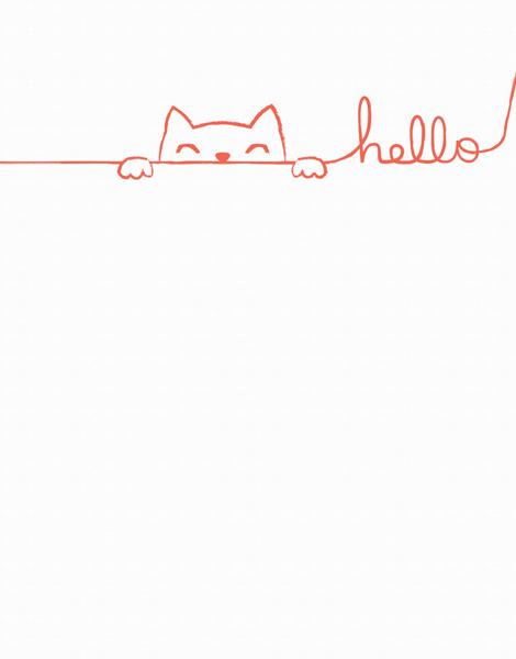 Doodle Cat Hello Card