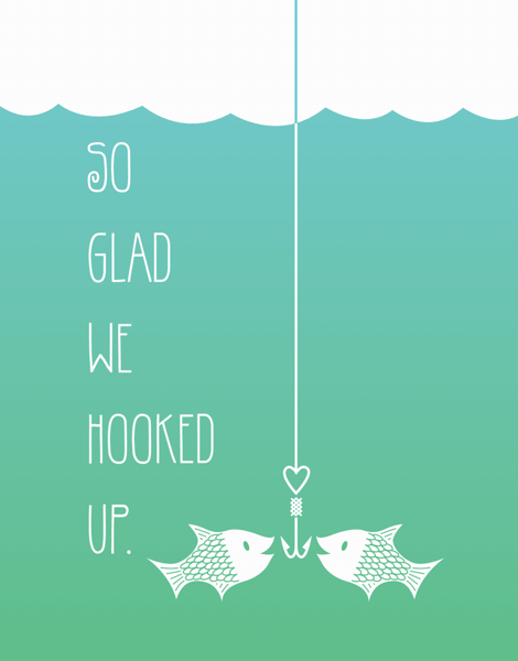 Cute Hooked Up Love Card