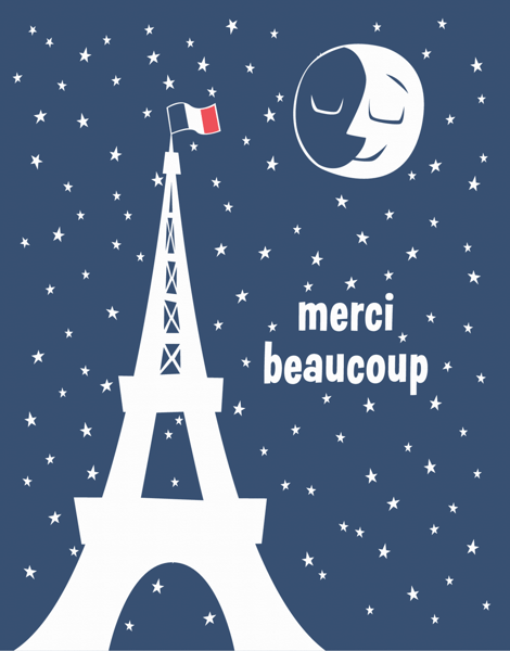 French Merci Beaucoup Thank You Card