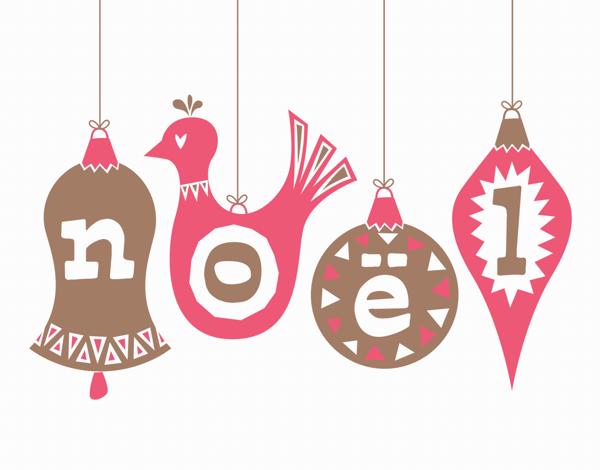 Hand Drawn Noel Ornaments Christmas Card