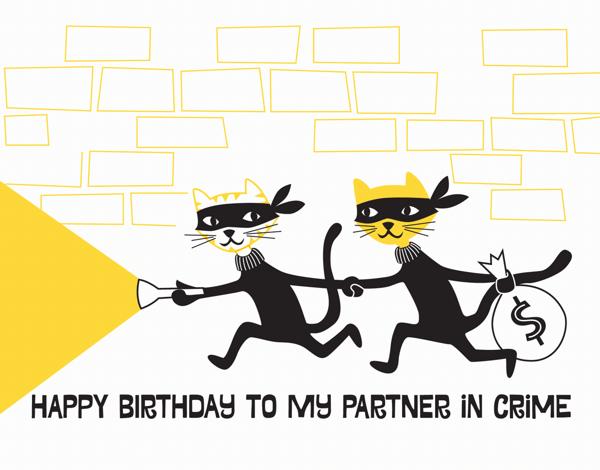 Partner in Crime Birthday Card
