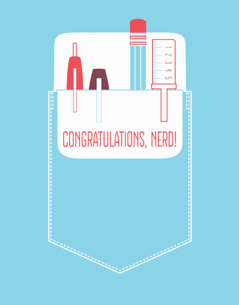 Cute Pocket Nerd Congratulations Card