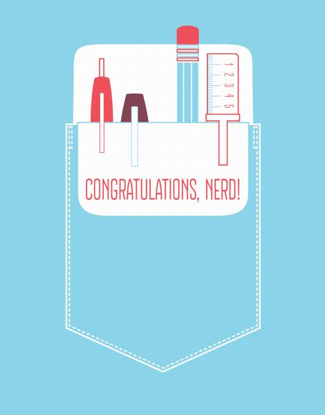 Cute Pocket Nerd Congratulations Card
