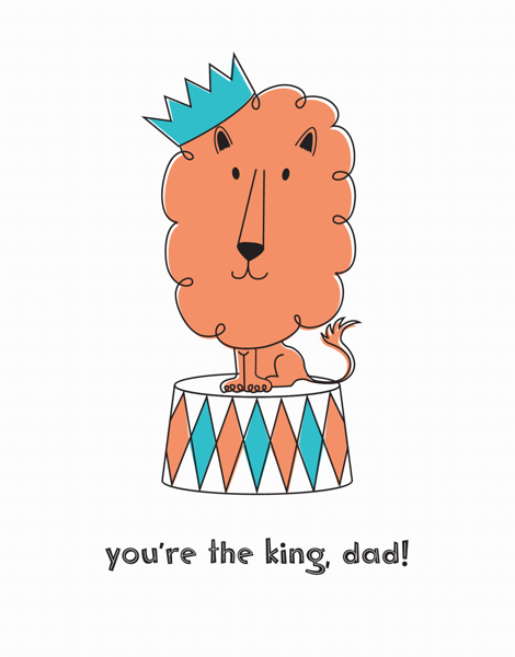 Cute Lion Doodle Father's Day Card